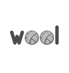 Wool emblem with with balls of yarn label for vector