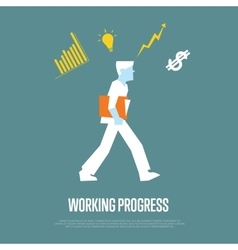 Working process banner with businessman vector