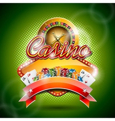Casino with roulette wheel and ribbon vector