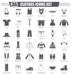clothes black icon set Dark grey classic vector image vector image