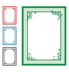 green floral corners background set vector image vector image