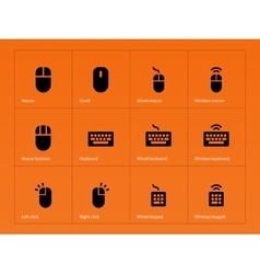Mouse and keyboard icons on orange background vector image
