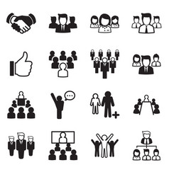 business team icon set vector image vector image