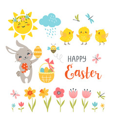 Cute easter design elements vector