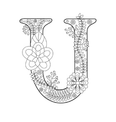 Letter U coloring book for adults vector image vector image