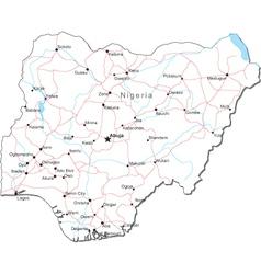 Nigeria Black White Map vector image vector image