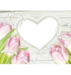 Pink fresh spring flowers background EPS 10 vector image