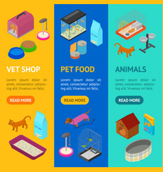 accessories for domestic pets banner vecrtical set vector image vector image
