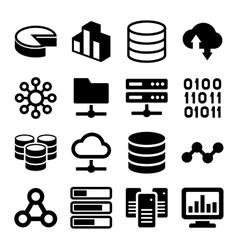 Big Data Analytics Icons Set on White Background vector image vector image