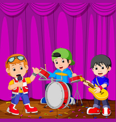 children in band playing on stage vector image vector image
