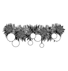 figure wreath with christmas balls icon vector image vector image