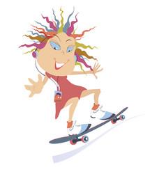 funny skateboarding girl isolated vector image