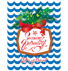 seasonal holiday card with rope frame and palm vector image vector image