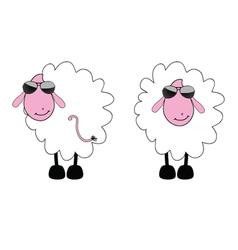 sheep cartoon with sunglass vector image
