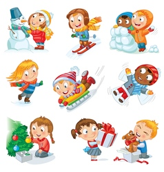 Winter holidays set vector image vector image