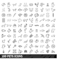 100 pets icons set outline style vector