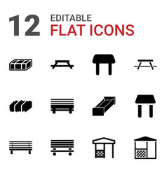 12 bench icons vector