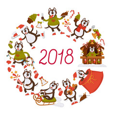 2018 new year dog cartoon character celebrating vector