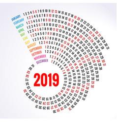 2019 calendar print template spiral calendar set vector