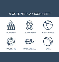 6 play icons vector