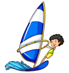 A boy enjoying the watersport vector image
