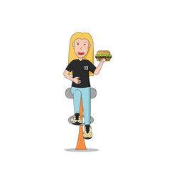 a girl is sitting with a burger vector image