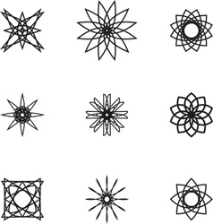 A set of nine black spiral logo on white vector