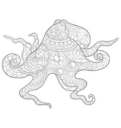 Adult coloring bookpage a cute octopus image vector