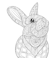 Adult coloring bookpage a cute rabbit image vector
