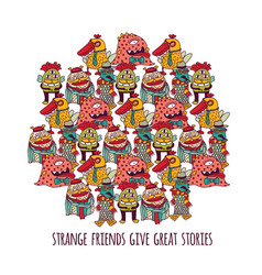 aliens different freaks strange friends isolate on vector image