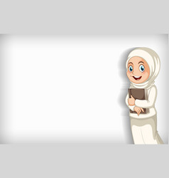 Background template design with muslim girl vector