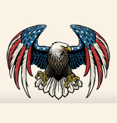 Bald eagle with america flag color vector