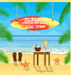beach things and surfboard summer holidays vector image