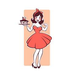 Beauty retro pinup cartoon girl holding a vector