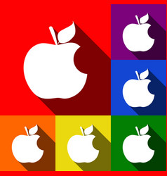 Bite apple sign set of icons with flat vector