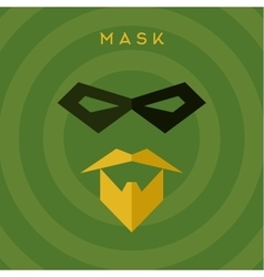 Black mask beard mustache superhero green vector image