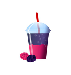 Blackberry smoothies in a cup superfoods and vector