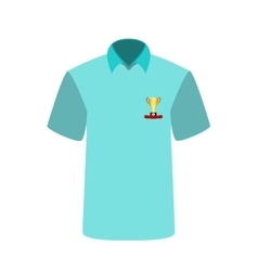 Blue T-shirt with the image of the cup for first vector