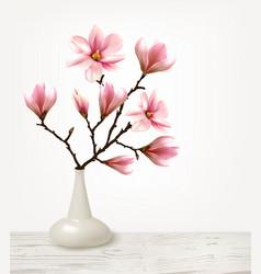 Branches pink magnolia in vase vector