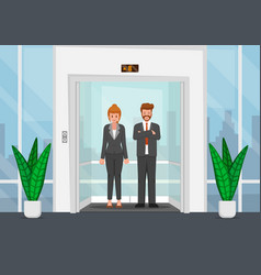 Business people in a glass elevator vector