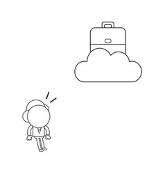 businessman character looking briefcase on cloud vector image