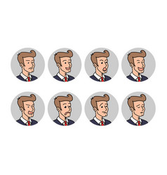 businessman with different emotions a bearded man vector image
