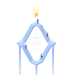 career ladder - modern isometric web banner vector image