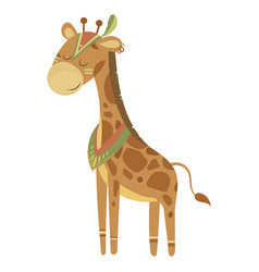 cartoon giraffe indian a vector image