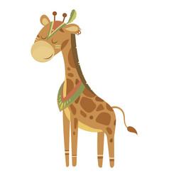 cartoon giraffe indian vector image