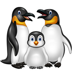 cartoon happy penguin family isolated on white bac vector image