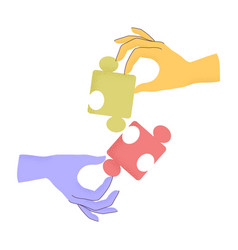 Cartoon human hands holding puzzle pieces with vector