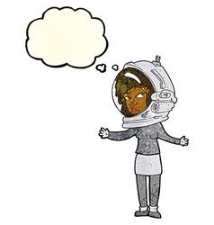 Cartoon woman wearing astronaut helmet with vector