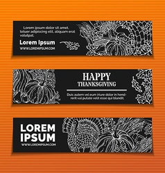 Chalk Thanksgiving horizontal banners set vector