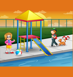 Children playing in outdoor swimming pool vector